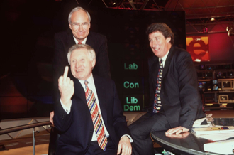 BBC election night studio, 1 May 1997: Dimbleby junior salutes the nation