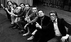 The cast and crew of The HitchHiker's Guide To The Galaxy, seen here thumbing a lift out of the Week Ending studios