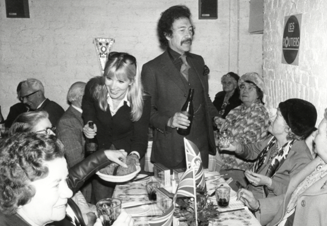 Susan Hampshire and Peter Wyngarde treat pensioners to a slap-up silver jubilee meal at Annabelle's Cafe in Fulham Road - what's not to like?